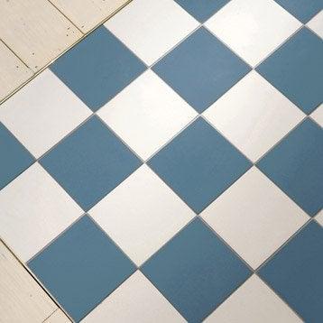 Carrelage sol et mur bleu foncé effet uni Archi l.15 x L.15 cm