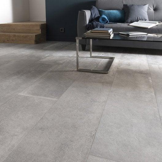 Carrelage sol et mur gris cendre effet béton Harlem l.30 x L.120 cm