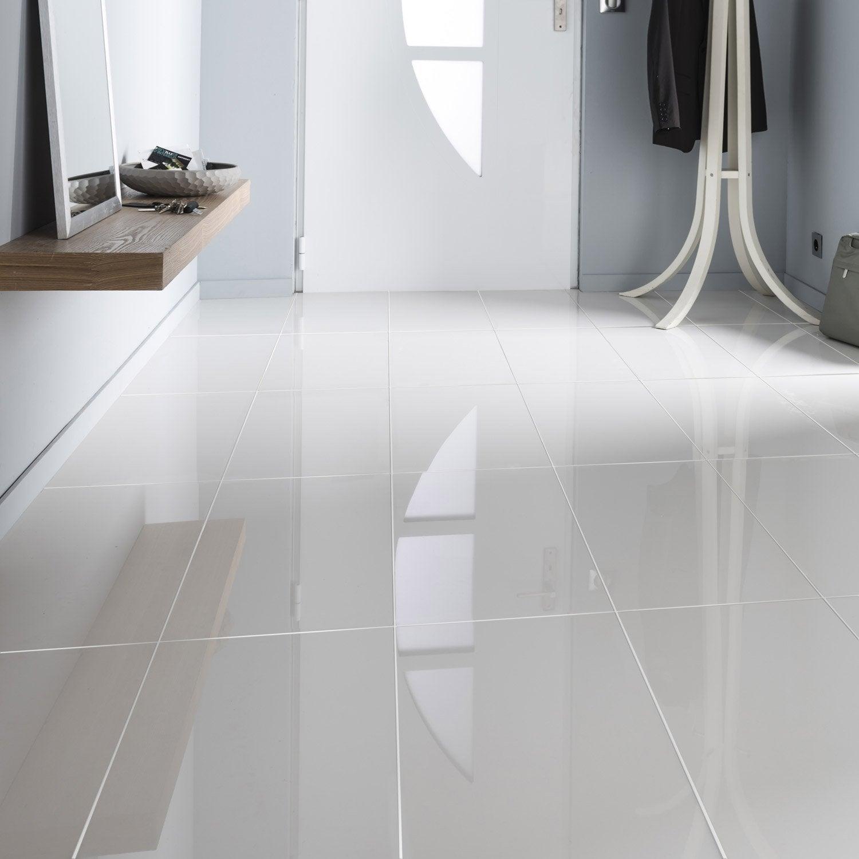 Carrelage sol et mur blanc effet uni crystal x for Carrelage sol interieur blanc
