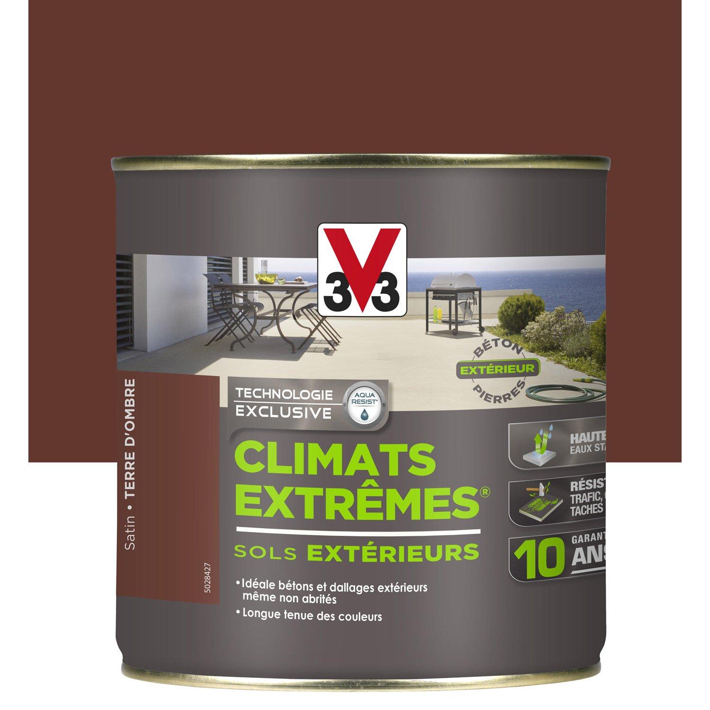 Peinture sol extérieur Climats extrêmes V33, marron terre d'ombre, 0.5 l | Leroy Merlin