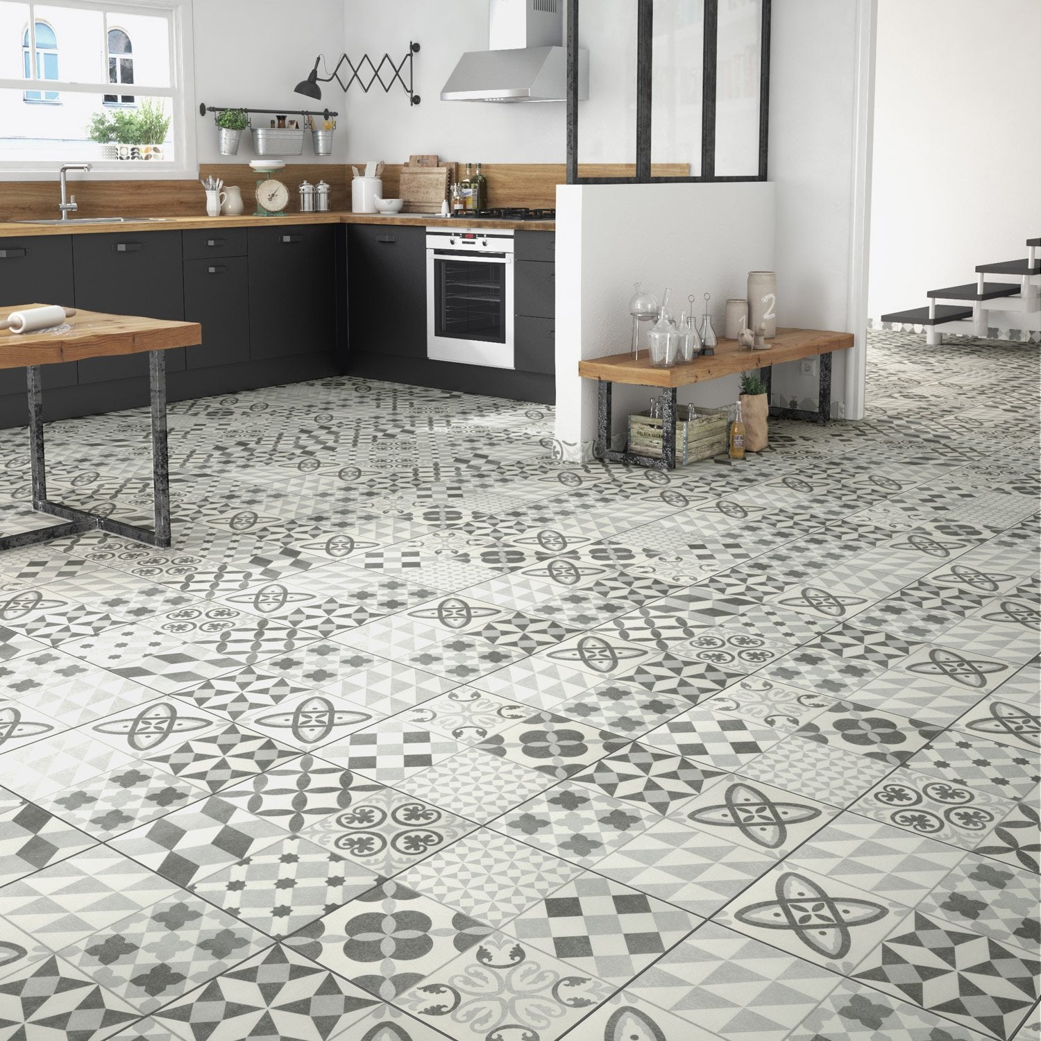 Carrelage sol gris aspect carreau de ciment ruban x cm leroy merlin - Carreau de ciment mural cuisine ...