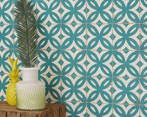 Grandeco Corail Rose Pastel Vert Gris Blanc Vinyle Papier Peint Géométrique Feuille Rétro