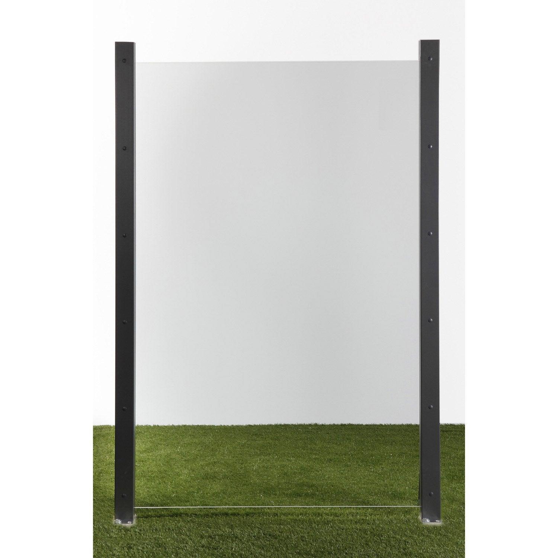 Hauteur Brise Vue Terrasse panneau verre semi-vitré, l.120 cm x h.180 cm, naturel