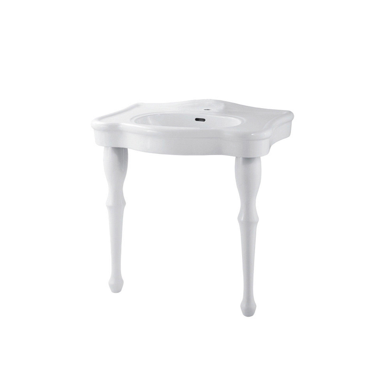 Lavabo colonne en céramique, blanc, SENSEA 2 pieds charm