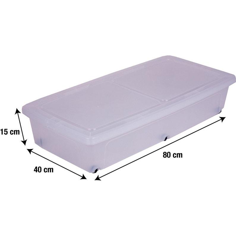 Dessous De Lit Modular Clear Box Plastique L40 X P80 X H16 Cm