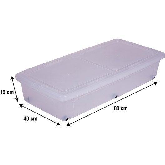 Dessous de lit Modular clear box plastique , l.40 x P.80 x H.16 cm | Leroy Merlin