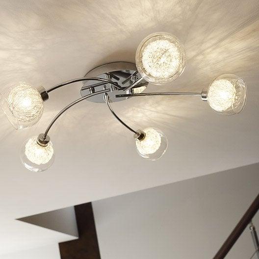 plafonnier oviedo eglo chrome 33 w leroy merlin. Black Bedroom Furniture Sets. Home Design Ideas