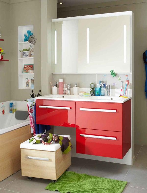 Bien choisir son meuble de salle de bains leroy merlin for Meuble salle de bain aubergine leroy merlin