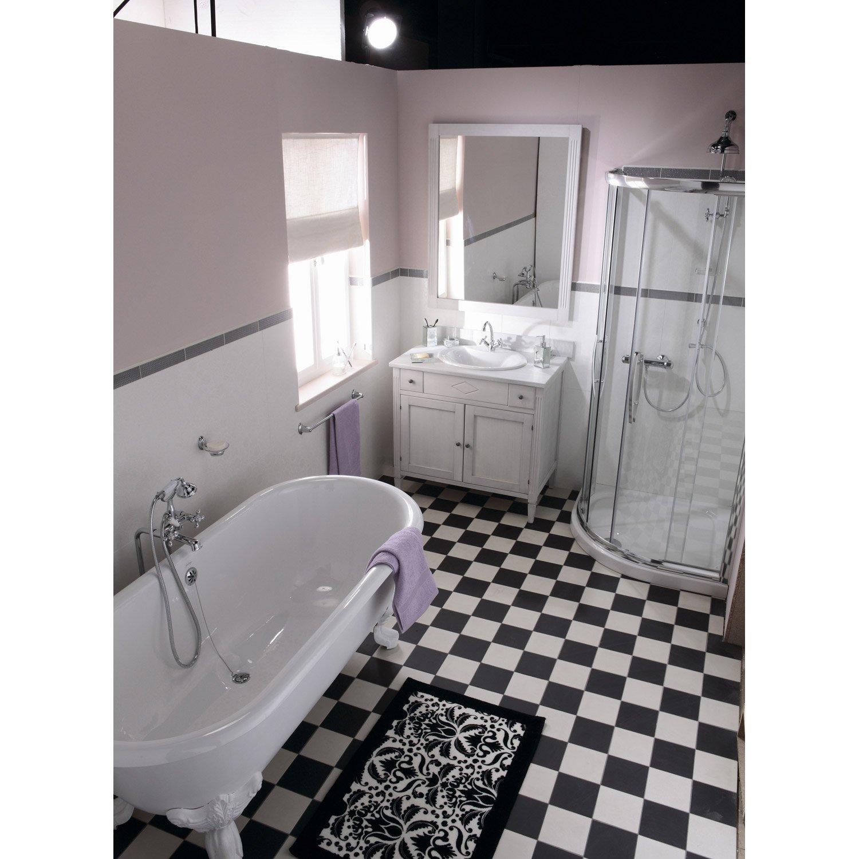 Carrelage Sol Et Mur Noir Effet Uni Archi L X L Cm Leroy Merlin - Carrelage mur et sol salle de bain