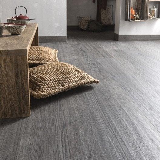 Carrelage sol et mur gris fonc effet bois islande x for Carrelage gris perle