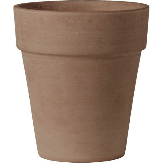 Pot terre cuite deroma x cm chocolat - Pot de fleur leroy merlin ...