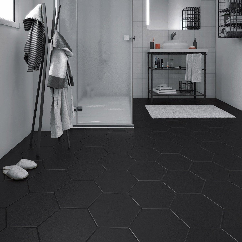 Carrelage sol et mur noir effet béton Hexo l.25.8 x L.29 cm | Leroy ...