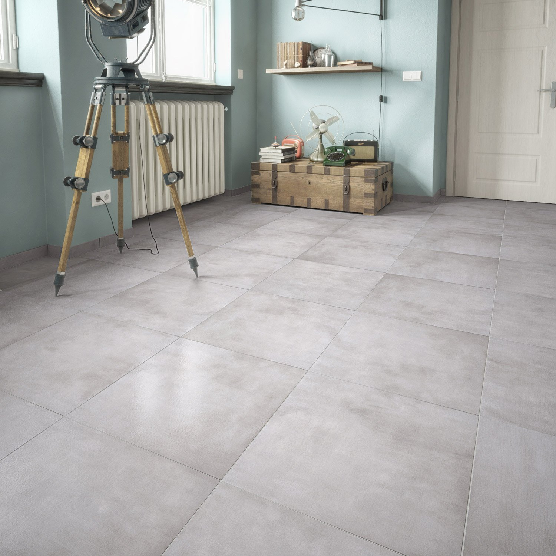 Carrelage sol et mur gris clair aspect pierre Raison l.61.5 x L.61.5 ...
