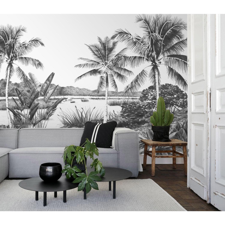 Papier Peint Panoramique Paysage papier peint intissé panoramique jungle fever paysage tropica noir