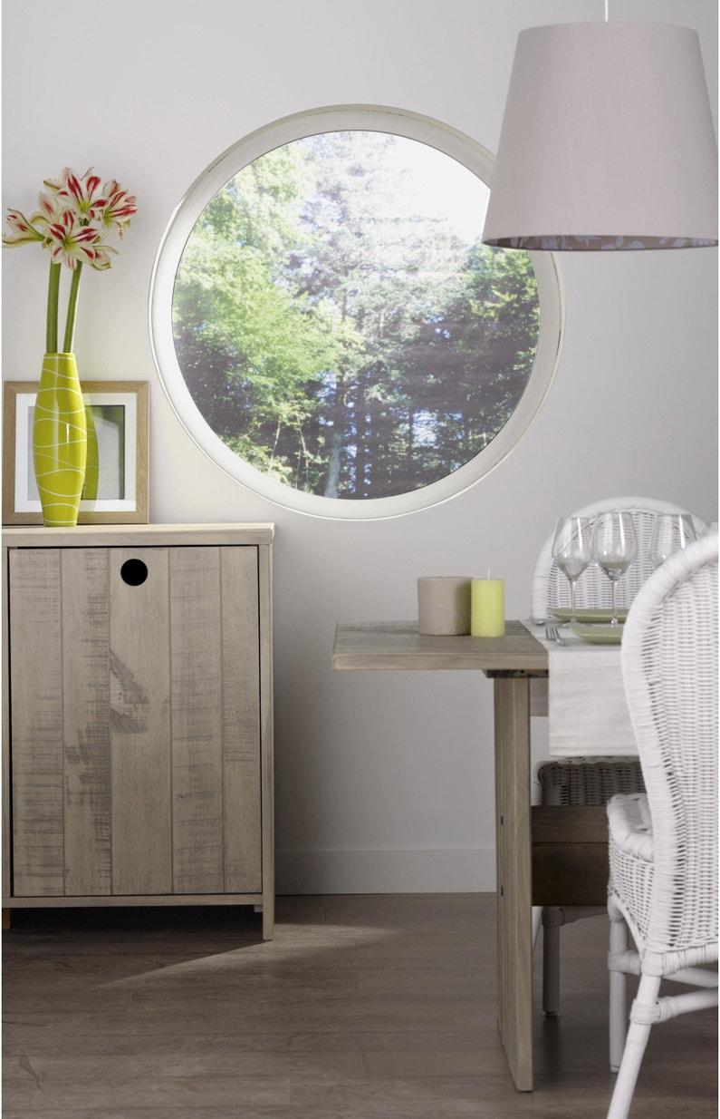 Fenêtre Rond Aluminium H100 X L100 Cm Blanc 1 Vantail Fixe Sans Ouverture