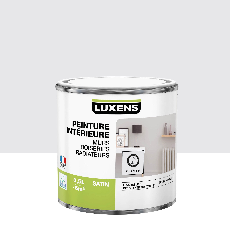 Peinture, mur, boiserie, radiateur, Multisupports LUXENS, granit 6, satin, 0.5 l