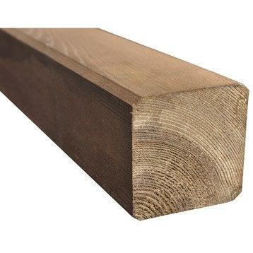 Poteau bois carré marron, H.240 x l.7 x P.7 cm
