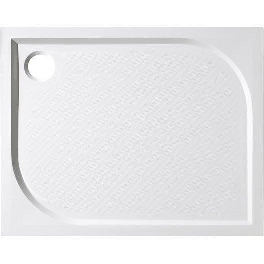 Receveur de douche rectangulaire l.120 x l.70 cm, résine blanc Klara