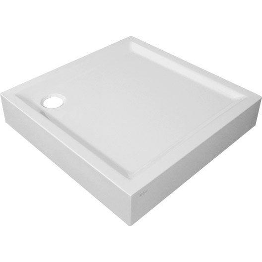 Receveur de douche carr x cm acrylique blanc - Receveur a poser sureleve ...