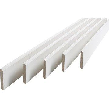 Lot de 5 plinthes médium (MDF) arrondies revêtu mélaminé blanc, 9 x 95 mm, L.2 m