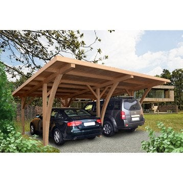 Carport bois Grancey 2 voitures, 32 m²