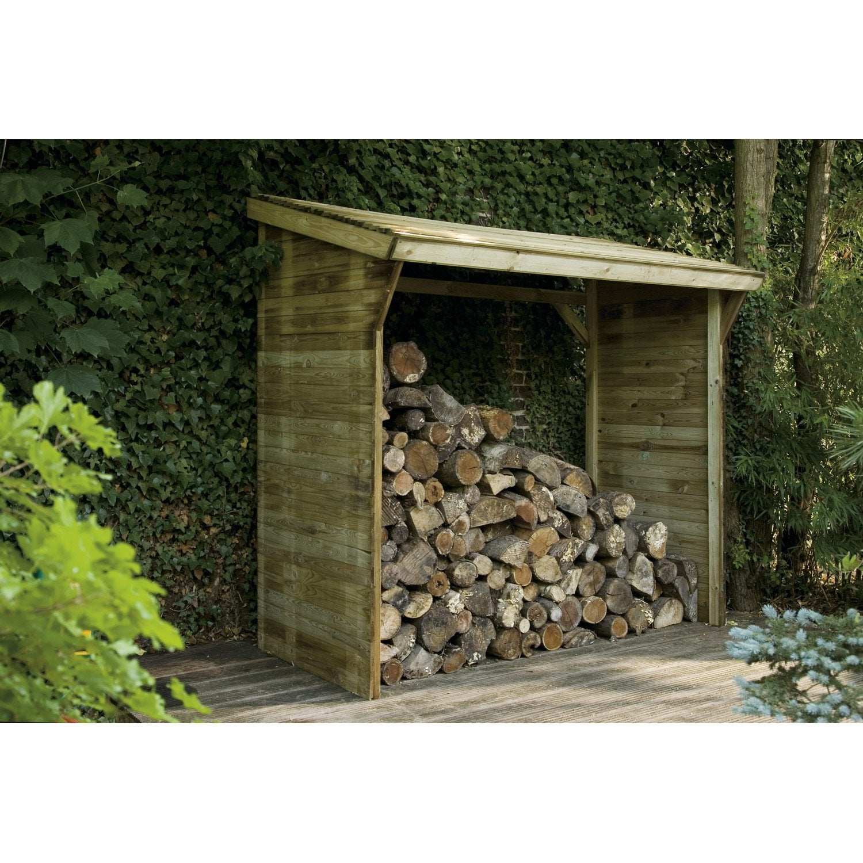 Bûcher bois Memphis naturel, l.221 x H.203 x P.114.5 cm   Leroy Merlin 035f9034f5e9