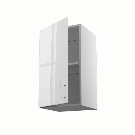 Meuble de cuisine haut blanc 1 porte rio h70xl40xp35 cm for Meuble cuisine 40 cm largeur