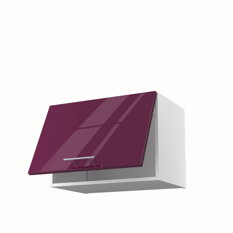 Meuble de cuisine haut sur hotte violet 1 porte rio x for Meuble haut cuisine 60 x 60