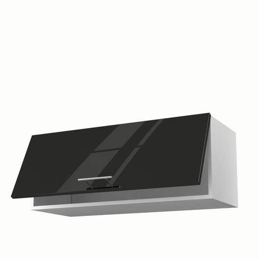 Meuble de cuisine haut noir 1 porte Rio H.35 x l.90 x P.35 cm ...