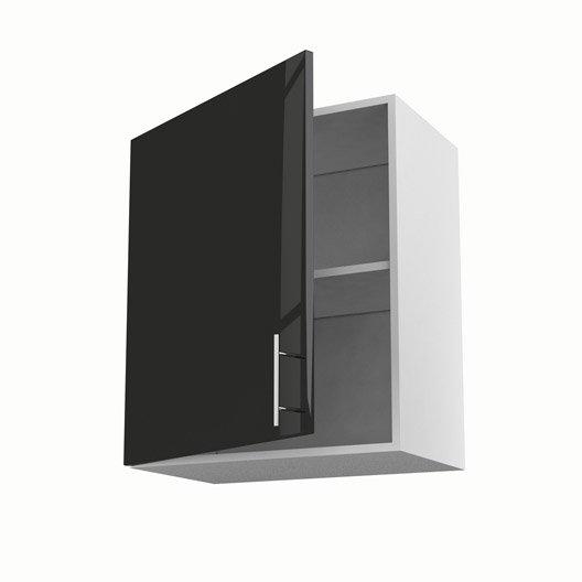 Meuble de cuisine haut noir 1 porte rio x x for Meuble haut profondeur 60