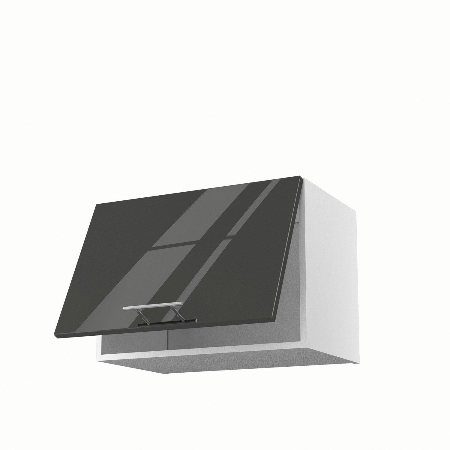 Meuble de cuisine haut sur hotte gris 1 porte rio x l - Meuble haut gris cuisine avec porte vitree 2 abattants ...