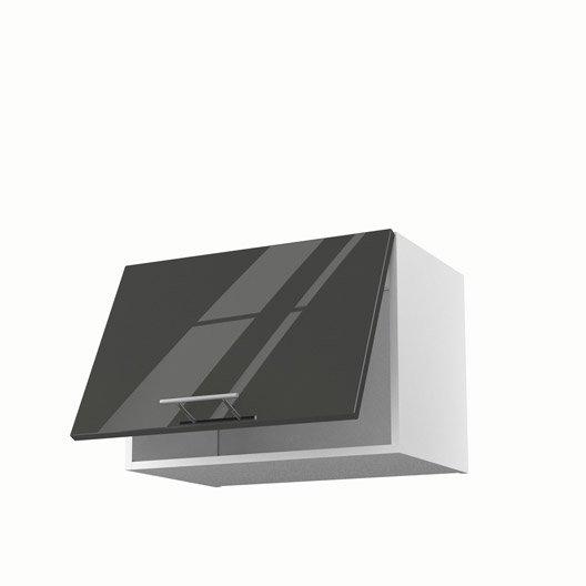 Meuble de cuisine haut sur hotte gris 1 porte rio x l for Porte 60 cm largeur