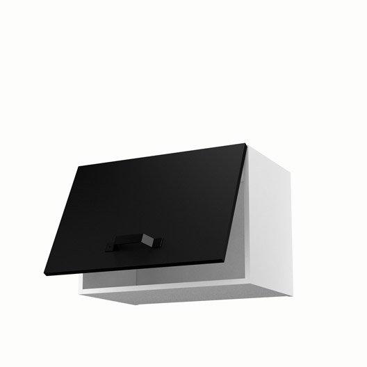 Meuble de cuisine haut sur hotte noir 1 porte mat edition - Hotte de cuisine noir ...