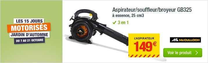 aspirateur souffleur broyeur essence mc culloch gbv 325. Black Bedroom Furniture Sets. Home Design Ideas