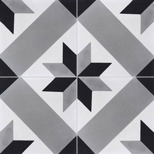 carreau de ciment sol et mur gris et noir etoile x l. Black Bedroom Furniture Sets. Home Design Ideas