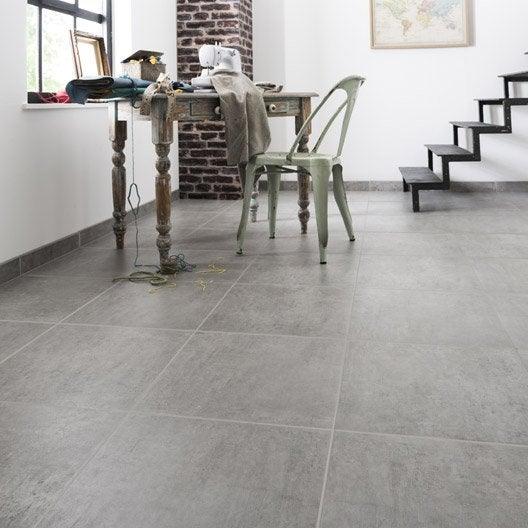 Carrelage sol gris effet b ton alma x cm leroy for Carrelage 45x45 gris