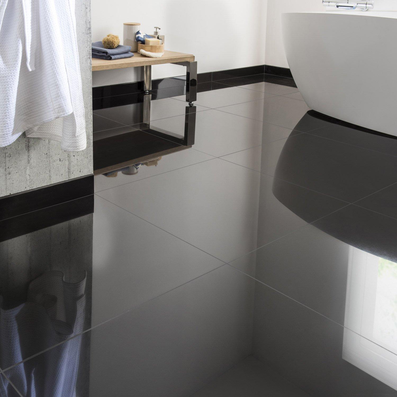 Carrelage Sol Et Mur Noir Effet Uni Crystal L X L Cm Leroy - Carrelage gris brillant