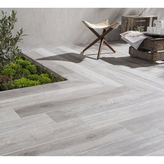 Carrelage sol gris effet bois way x cm leroy for Carrelage exterieur aspect bois