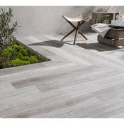 Carrelage sol gris effet bois Way l.15 x L.90 cm