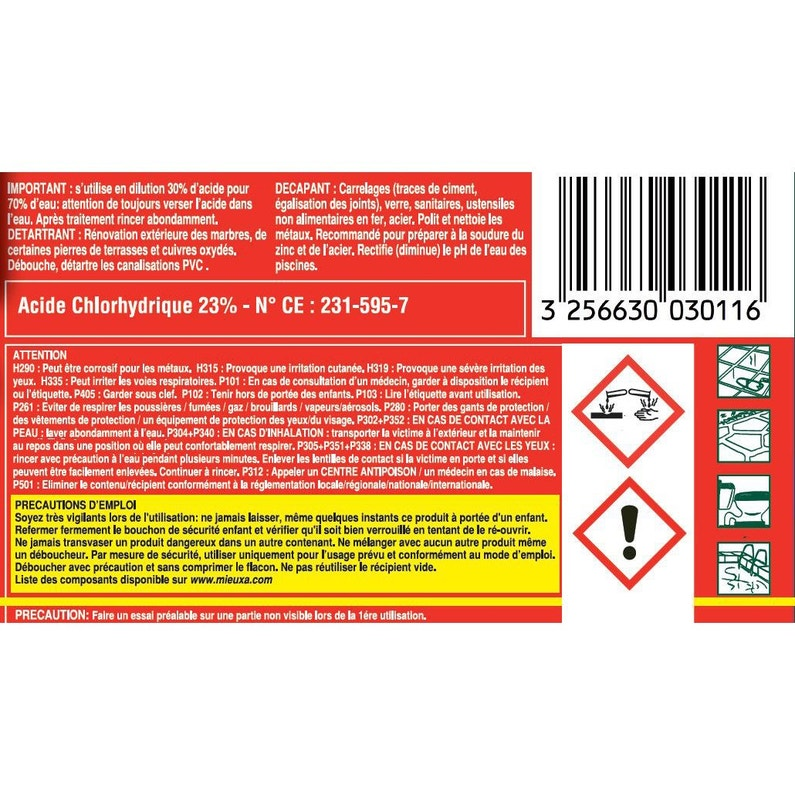 Acide chlorhydrique MIEUXA, 1 l Acide chlorhydrique MIEUXA, 1 l 196d87cea7a