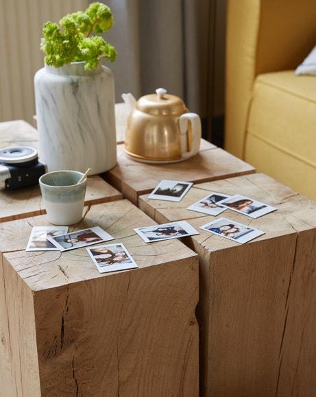 Original et authentique, les cubes laissent apparaitre le veinage du bois