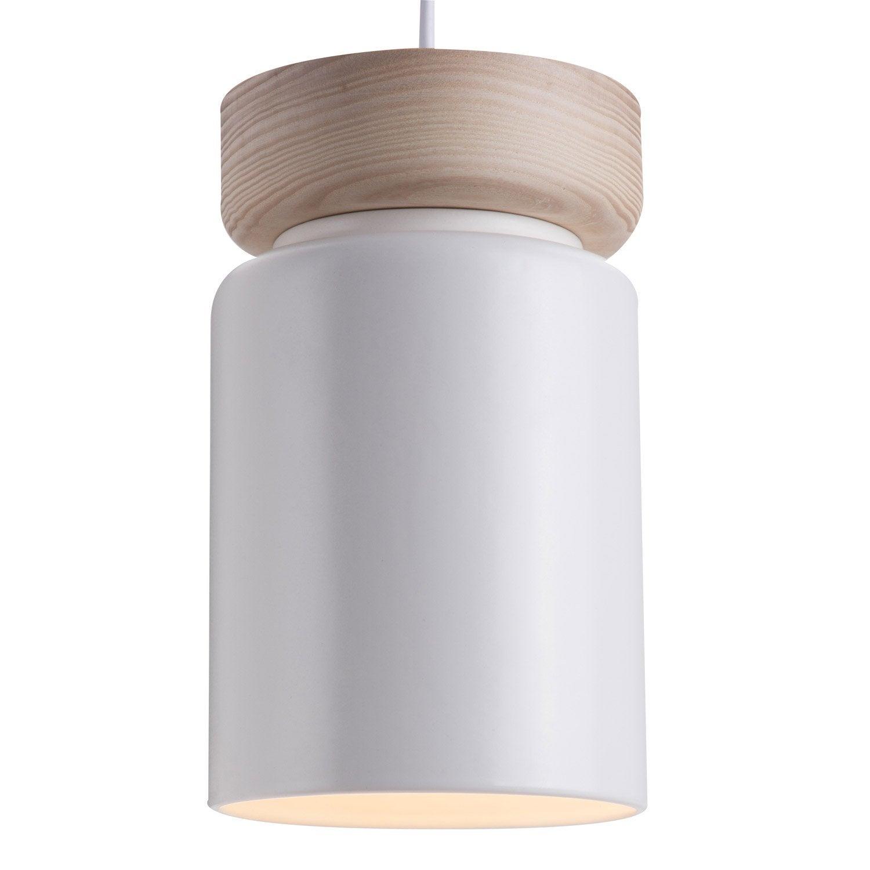 Suspension, E27 scandinave Aspen céramique blanc 1 lumière, LUSSIOL