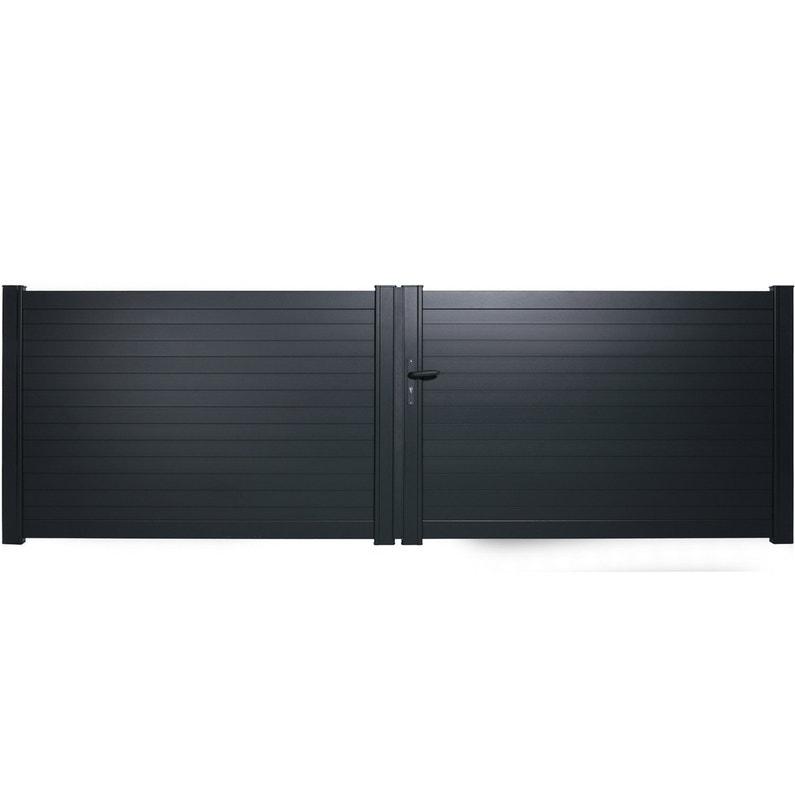 Portail Battant Aluminium Concarneau Gris Naterial L400 Cm X H128 Cm