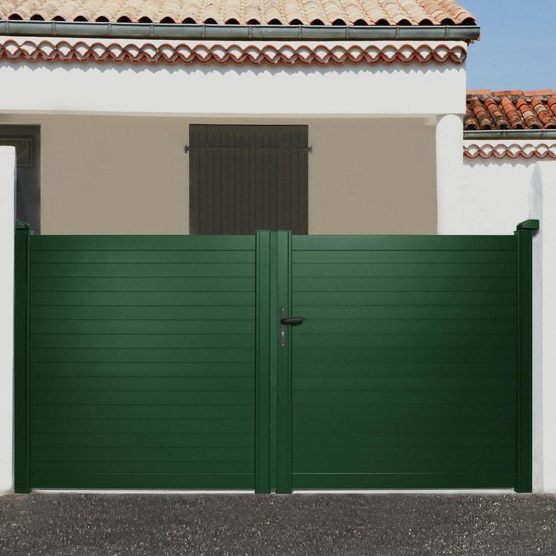 Portail battant aluminium Concarneau vert NATERIAL, l.300x H.153 cm