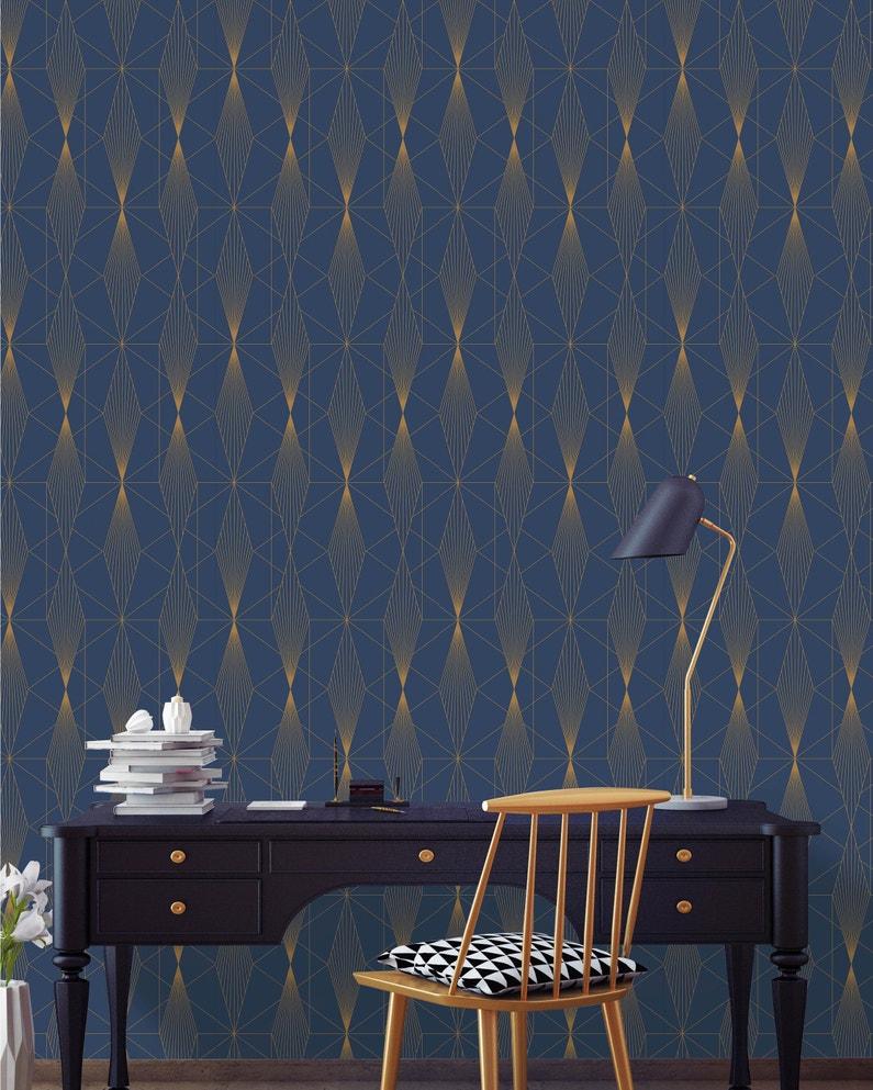 Leroy Merlin Papier Peint Salle De Bain papier peint vinyle sur intissé gaby diam bleu et or