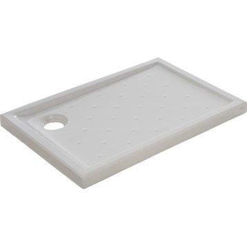 Receveur de douche rectangulaire L.100 x l.70 cm, grès blanc Asca2