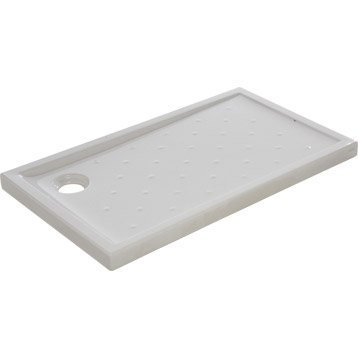 Receveur de douche rectangulaire L.120 x l.70 cm, grès blanc Asca2