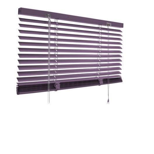 Store v nitien aluminium violet x cm leroy for Store venitien exterieur aluminium