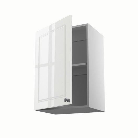 Meuble de cuisine haut blanc 1 porte chelsea x x - Meuble haut cuisine largeur 50 cm ...