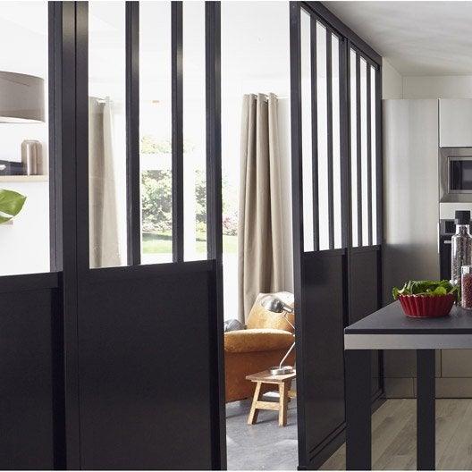 Cloison d corative pleine et vitr e atelier 80 x 240 cm noir leroy merlin - Cloison vitree leroy merlin ...